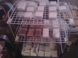 homemade-soap drying